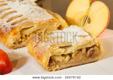 Clouse-up of a delicious home-made apple strudel