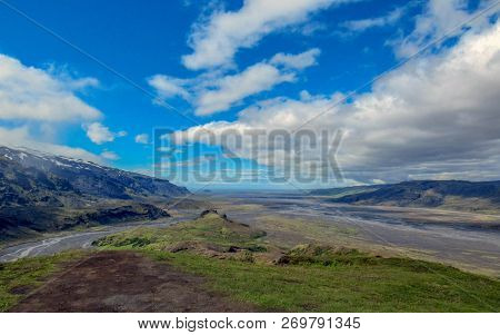 Breathtaking Landscape Of Green Valley Of Thorsmork, With Volcanoes, Glaciers, Green Forest And Blue