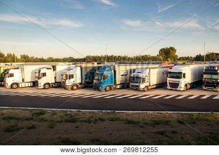 Belgium - Jun 23, 2017: Truck Overnight Parking Along The E17 Highway.