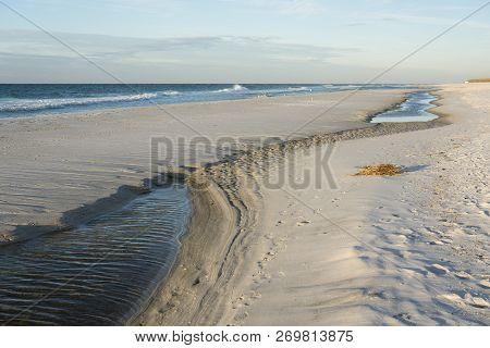 Tide Pools Form On Pensacola, Florida Beach.