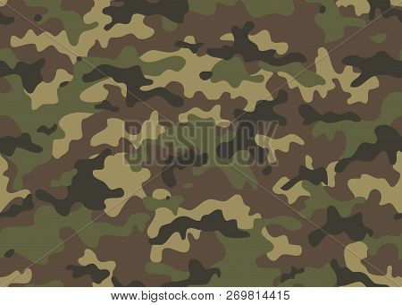 Camouflage Seamless Pattern. Trendy Style Camo, Repeat Print. Vector Illustration. Khaki Texture, Mi