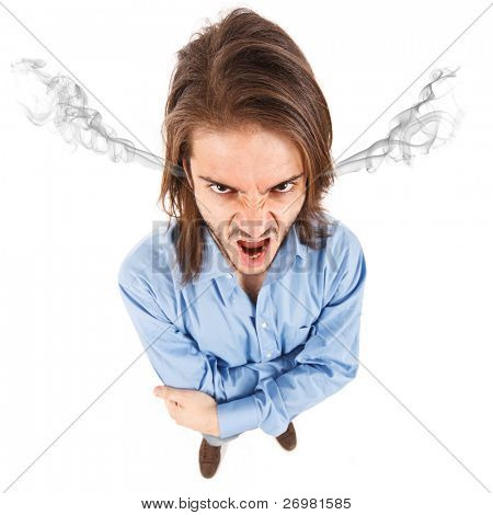 Funny portrait of an angry young man, isolated on white