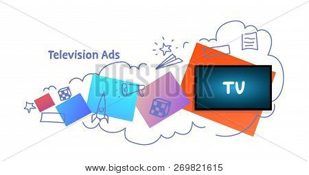 Tv Icon Multimedia Communication Television Ads Concept Sketch Doodle Horizontal Isolated Flat
