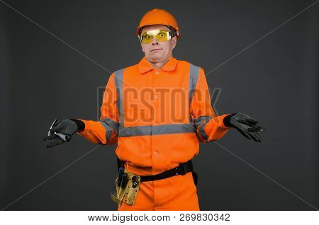 Guilty Builder Worker Justifies About Lateness Of Construction And Spreads His Hands Isolated On Blu