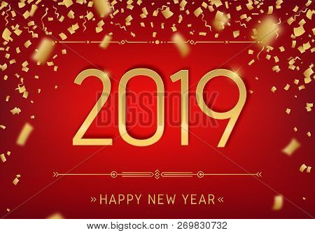 Happy New Year 2019 Premium Design. Greeting Card Template 2019 With Golden Glitter Confetti. Vector