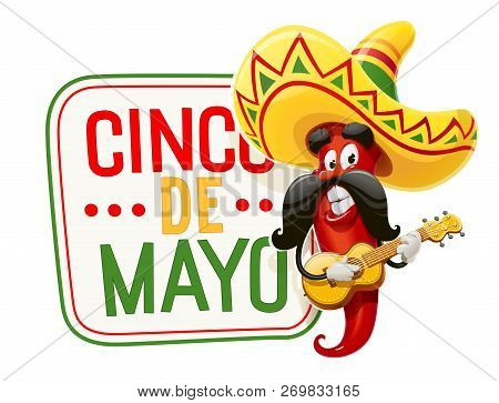 Character For Cinco De Mayo Celebration. Red Pepper Jalapeno In Suit Mariachi With Guitar And Sombre