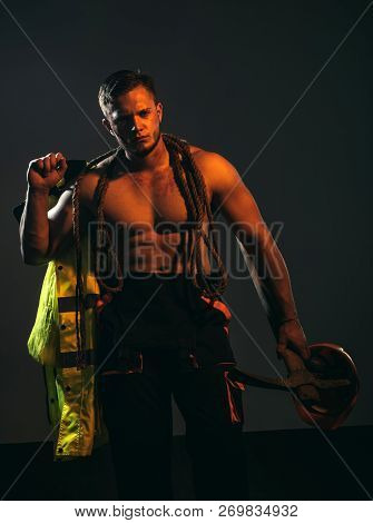 The Projects Are Under Construction. Construction Worker. Hard Worker With Muscular Torso. Muscular