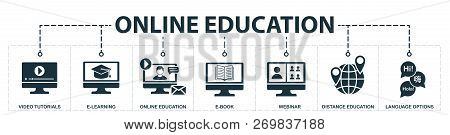 Online Education Set Icons Collection. Includes Simple Elements Such As Video Tutorials, E-learning,