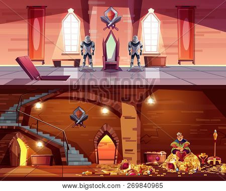 Vector Throne Room With Hatch To Vault. Cellar With King On Pile Of Gold, Coffers. Background With G