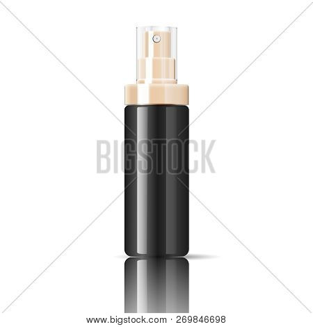 Black Cosmetics Bottle Can Sprayer Container In Realistic Glossy Glass Or Plastic Material. Atomizer