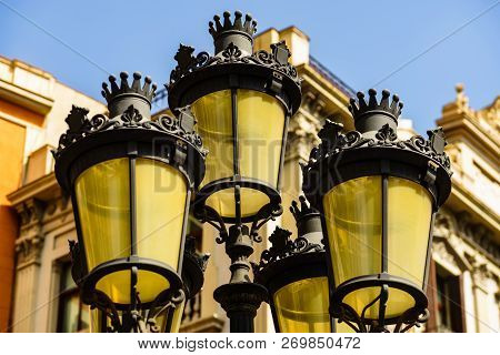 Close Up Photo Of Three Street Lamps On La Rambla - Barcelona, Spain.