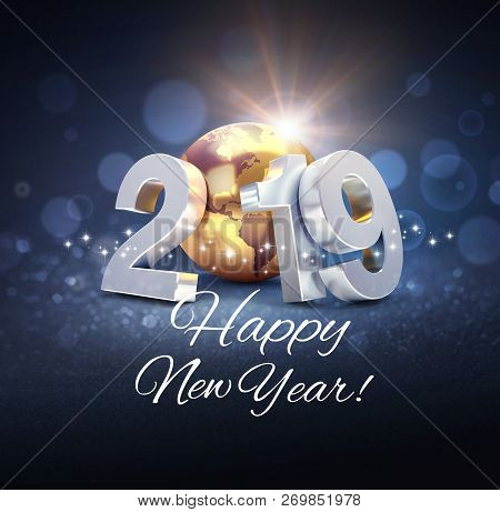 Silver Date 2019 Composed With A Gold Planet Earth And Happy New Year Greeting, On A Glittering Blac
