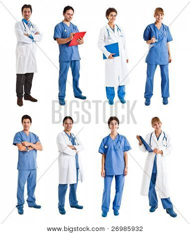 Collection of full length portraits of medical people