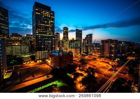View From Above Town Square Area In Denver , Colorado , Usa Nightscape Skyline Cityscape At Night Pe