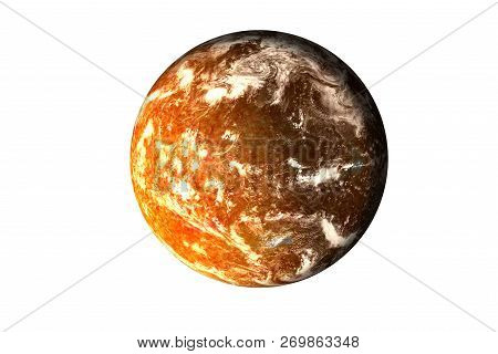 Orange Planet With Burning Magmatic Surface And Gas Atmosphere In The Shadow Isolated. Science Ficti