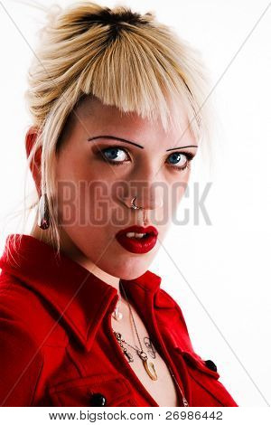 Portrait of a beautiful transgressive blonde girl