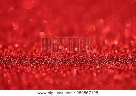 Red Glitter Texture Christmas Abstract Background, Defocused Abstract Red Glitter Texture Background