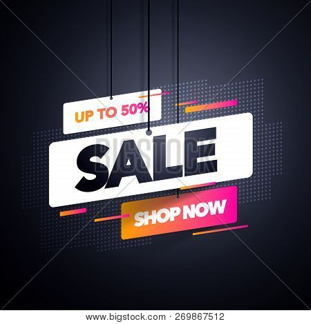 Vector Illustration Modern Sale Label Tag Banner Template Design, Big Sale Special Offer. For Black