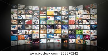 Television Streaming Video Concept. Media Tv Video On Demand Technology. Video Service With Internet