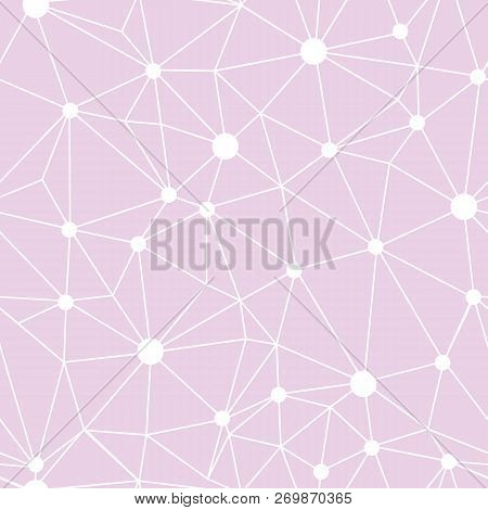 Pastel Pink Network Web Texture Seamless Pattern. Great For Abstract Modern Wallpaper, Backgrounds,