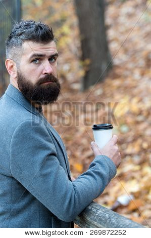 Drink It On The Go. Man Bearded Hipster Prefer Coffee Take Away. Businessman Bearded Guy Drink Coffe