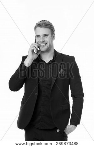 Businessman Works For Business Communication. Businessman Speak On Phone For Business Communication.