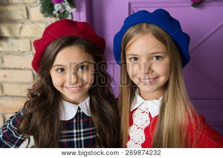 Noble lady concept. Girls french little kids smiling face posing in hats. How wear french beret. Beret style inspiration. How to wear beret like fashion girl. Fashionable beret accessory for female. poster