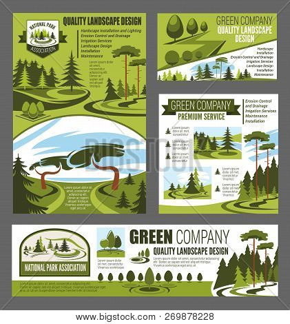 Park And Garden Landscaping Design Posters And Banner. Village Green Trees, Forest Gardening And Out