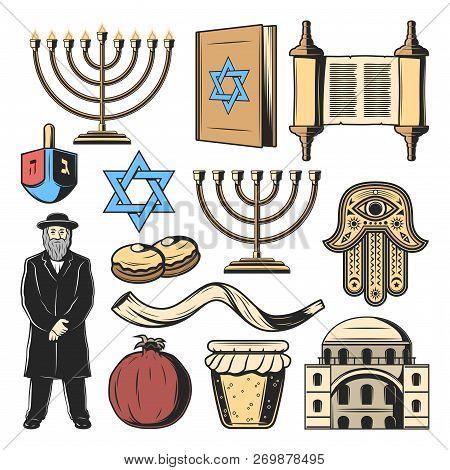 Jewish Symbols And Judaism Religion And Culture Items. Vector Hanukkah Menorah Hanukiyot Lampstand,