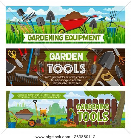 Gardening Equipment And Planting Tools. Vector Farm Garden Spade And Rake, Watering Can And Sole In