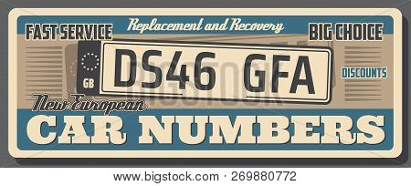 Car Auto Service, Vehicle License Number Plate Replacement Or Recovery. Vector Vintage Poster Design