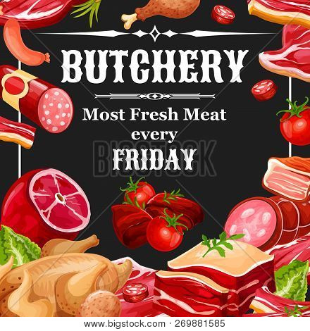 Butcher Shop Meat Products. Vector Farm Butchery Beef And Pork, Chicken Legs Grill And Lamb Ribs Wit