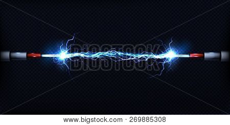 Electrical Discharge Passing Through Air Between Two Pieces Of Naked Wires Or Power Cables 3d Realis