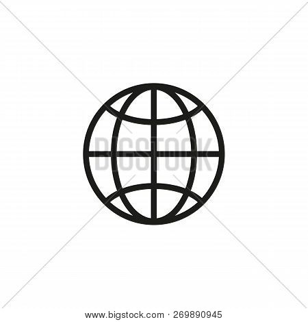 Globe Line Icon. World Wide Web, Internet, Communication. Internet Concept. Vector Illustration Can