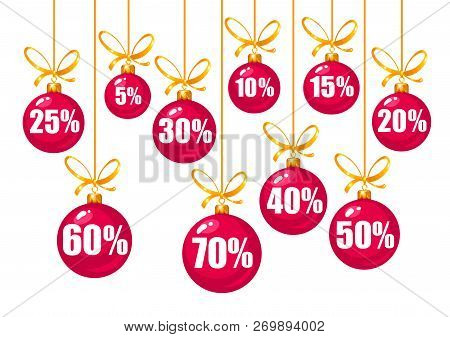 Set Of Discount Tags 10, 15, 20, 25, 30, 40, 50, 60, 70 Percent Off In The Shape Of Red Christmas Ba
