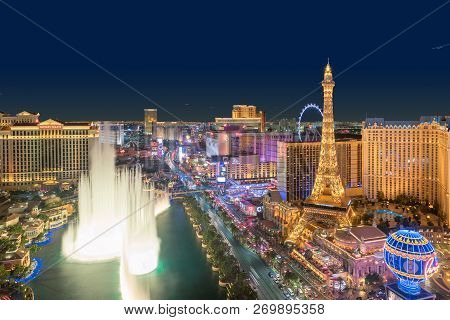 Las Vegas Strip Skyline At Night On July 24, 2018 In Las Vegas, Nevada. Las Vegas Is One Of The Top