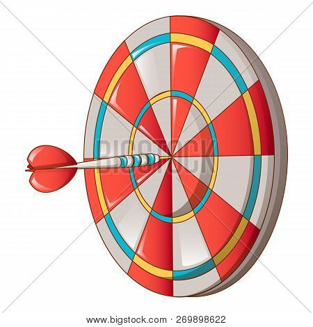 Hit Darts Target Icon. Cartoon Of Hit Darts Target Icon For Web Design Isolated On White Background