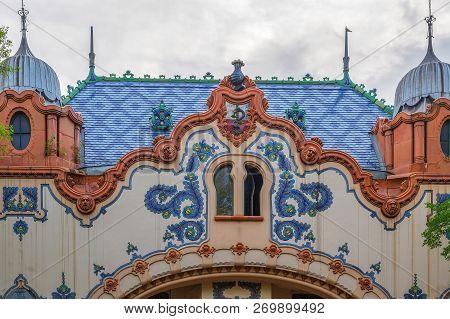 Subotica, Serbia, Vojvodina - April 28, 2018: Detail Of House Of Architect Ferenc Raichle (raichle P