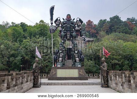 Chibi, Hubei/ China - Oct 25, 2018:the Biggest Guan Yu Statue. Guan Yu Temple. Travel In Chibi City.