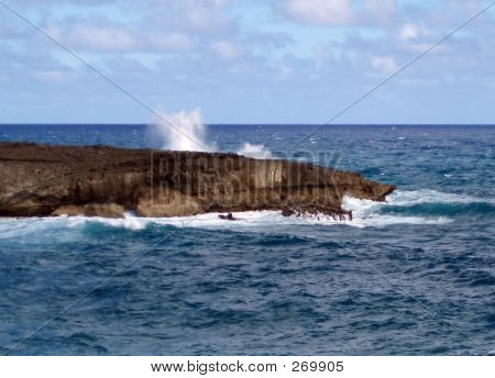 Crashing Waves On Rock Formation