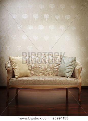 Images of the luxury gold glamorous sofa in the background of vintage wallpaper poster
