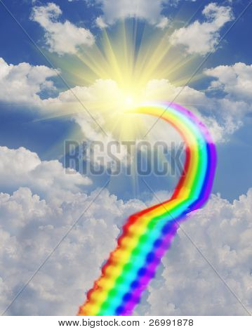 The image on the stairs leading from the rainbow through the clouds to the sun