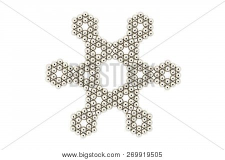 Star Made With Silver Balls Isolated On White