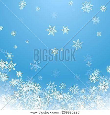Holiday Winter Background For Merry Christmas And Happy New Year. Falling White Snowflakes On Blue B