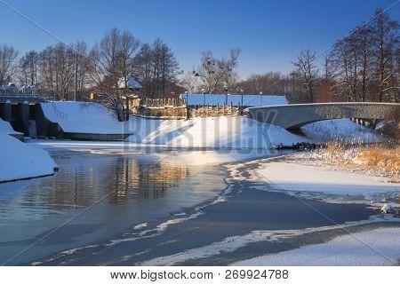 Snowy winter at the medieval village in Pruszcz Gdanski, Poland