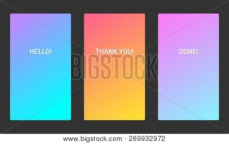 Vector Pastel Soft Color Ui Design Mobile App Screen. Bright Gradient. For Applications, Banners And