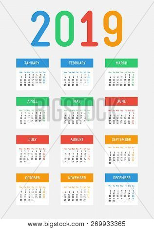 Vector 2019 New Year Calendar. Bright Contrast Design. The Week Starts On Monday