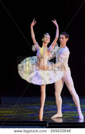 ST. PETERSBURG, RUSSIA - NOVEMBER 16, 2018: Students of the Vaganova Academy of Russian Ballet perform in the Hermitage theater during Saint-Petersburg International Cultural Forum