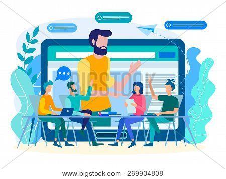 Online Coaching, Online Training, Web Communication Concept. Training, Webinar, Teacher Conducts Onl