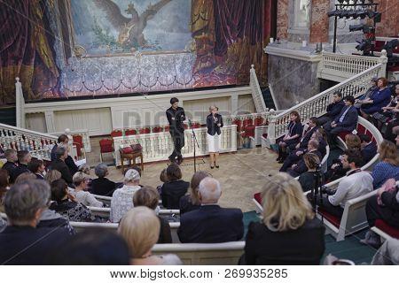 ST. PETERSBURG, RUSSIA - NOVEMBER 16, 2018: Olga Golodets, Deputy Prime Minister of Russia (talking) and Nikolai Tsiskaridze, the principal of the Vaganova Ballet Academy during SPb Cultural Forum